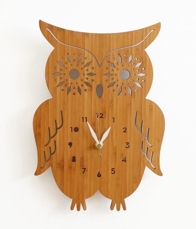 Owl Wall Clock with starburst eyes, modern wall clock,