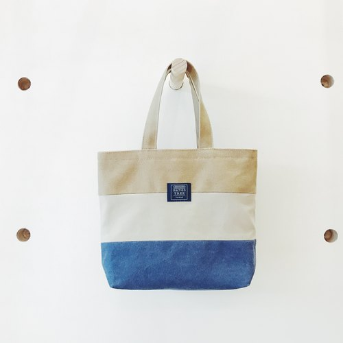 :: :: Bangs tree mixed colors portable small tote bag _ Kazimierz blue and gray