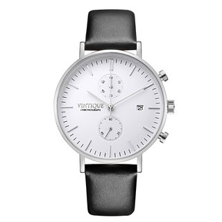 [Vintique] chronograph watch minimalist design sapphire glass steel stainless steel case leather strap CH-WS01