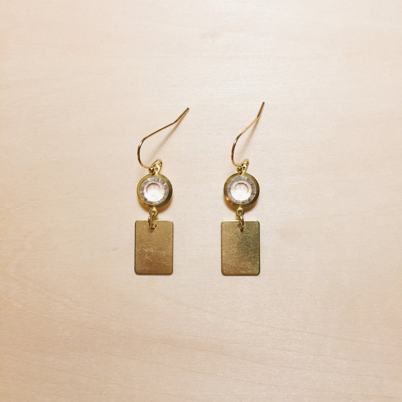 Vintage transparent brass small square earrings