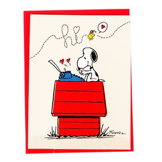 Snoopy My letter flies in the sky [Hallmark-Peanuts-card]