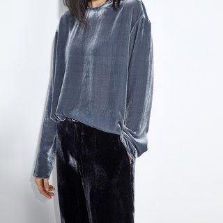 GAOGUO original design gray silk velvet crew neck long-sleeved shirt