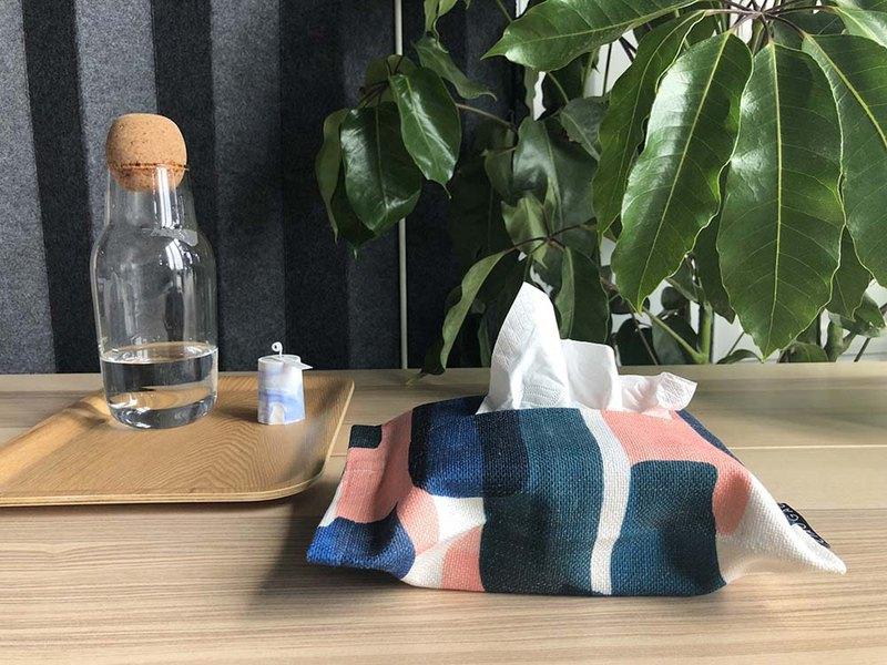 【草稿/ciaogao】原創設計手繪北歐簡約水墨筆觸粉藍綠棉麻紙巾包