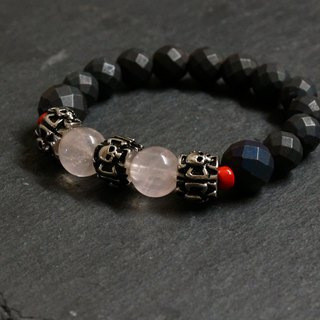 Rose Quartz + Hematite Gemstones Bracelet