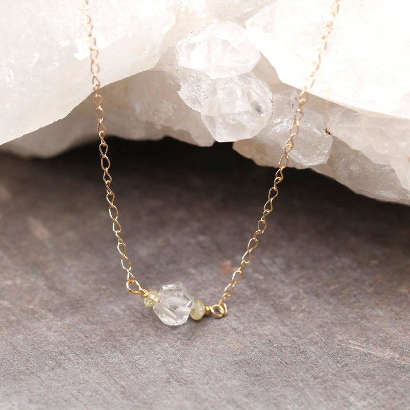 Herkimer Diamond and Dainty Yellow Diamond Necklace 14kGold April birthstone
