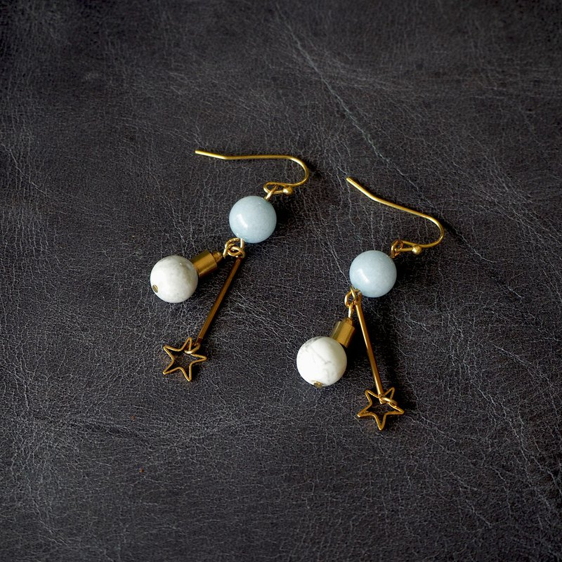Opal Howlite with brass star earrings