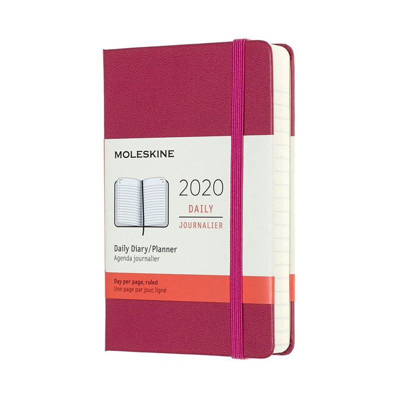 MOLESKINE 2020 Diary 12M Hard Case - Pocket Pink - Hot Stamping Service