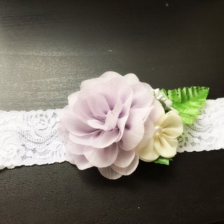 Handmade Fabric purple flower Elastic baby/kid Headband