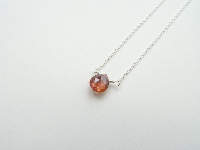 Tourmaline Faceted Teardrop Briolette Dainty Sterling Silver Necklace (Orange)