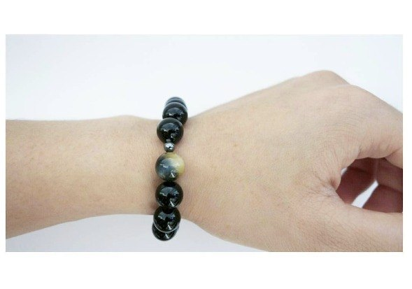 [Natural Stone Series] Handmade obsidian bracelet with tigerston,gift,unisex,custom