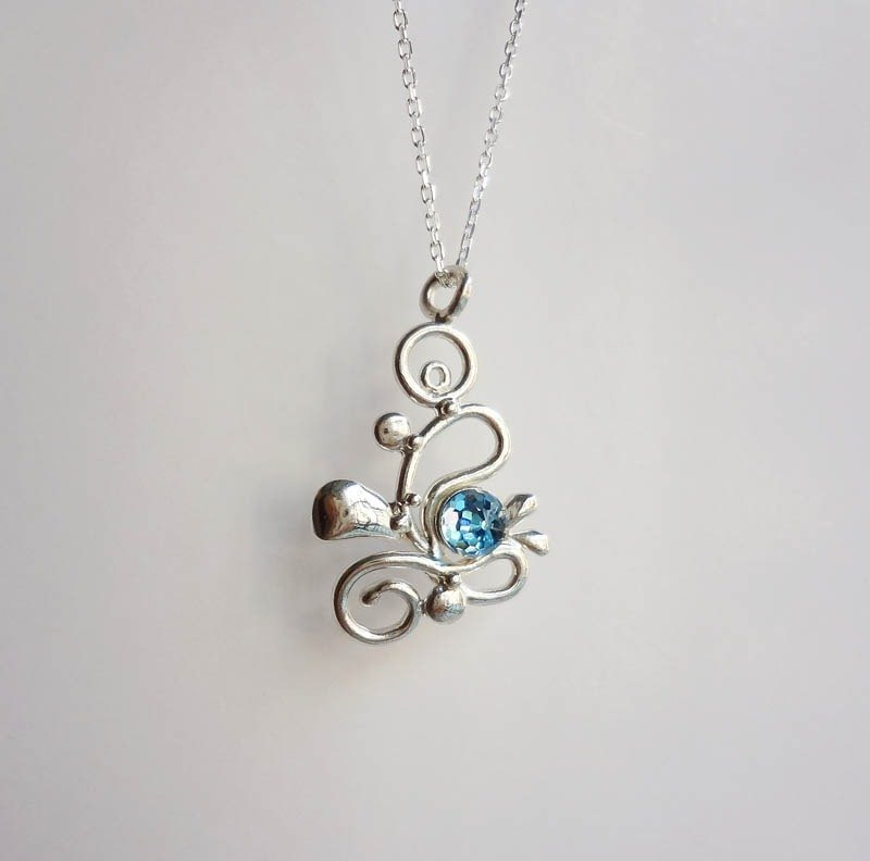 Wave Blessing - Silver Pendant Silver Necklace - Swarovski Crystals
