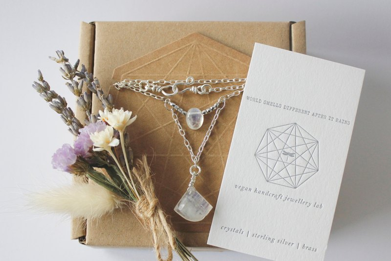 Moon Water - Two ice kind of natural Moonstone crystal stone necklace simple and sober