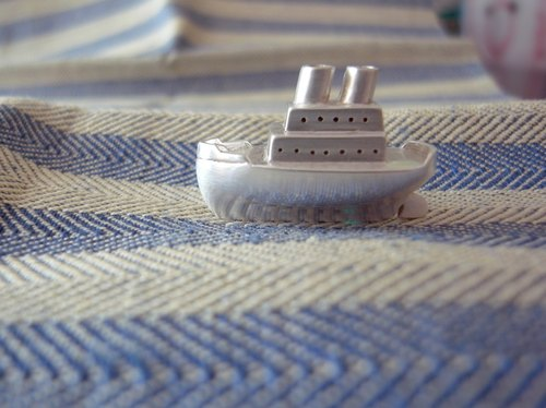Silver Vintage Ocean Liner--Sterling Silver--Pendant Necklace with Wax Rope