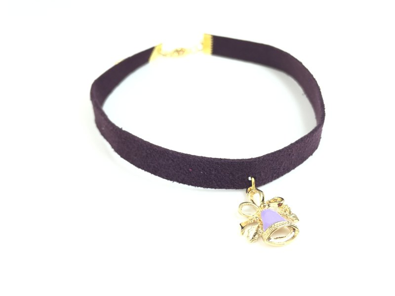 Purple suede necklace - purple Christmas bells