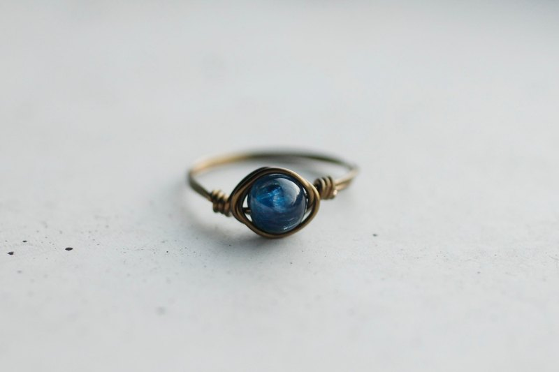September Birthstone - Blue Crystal Bronze Copper Ring Crystal Half Jewel