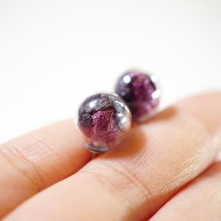 A Handmade Black and Purple hydrangea tone glass ball earrings