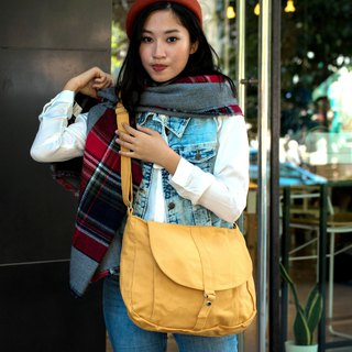 Cross body bag / canvas messenger /shoulder bag  - no.102 KYLIE in mustard