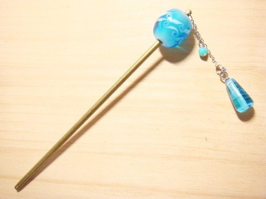 Grapefruit Forest Handmade Glass - Voice from the Sea - Hairpin