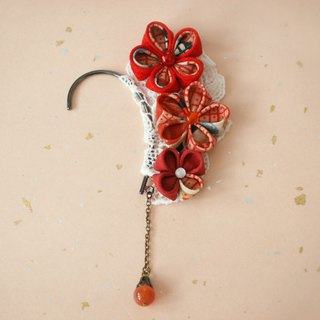 【New color】 Ear hook made with knob wrapping old cloth · red