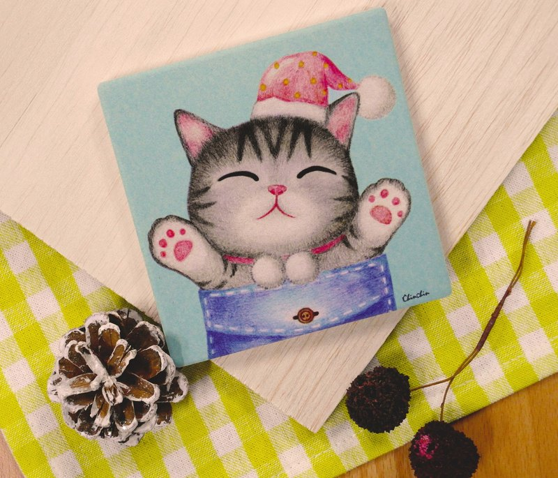 ChinChin hand-painted ceramic water coaster cat - cat warm pocket