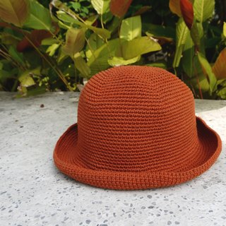 Mama の hand made hat - Summer cotton rope hat - retro square hat / vintage orange / Mother's Day / picnic / outing