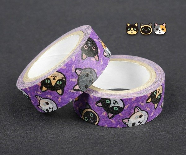 【Purple night kitten】 ★ Christmas gifts ★ creative cute. And paper. Paper tape.