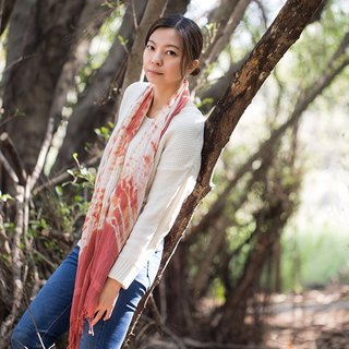 Plant hand-dyed series - warm madder dyed silk scarves