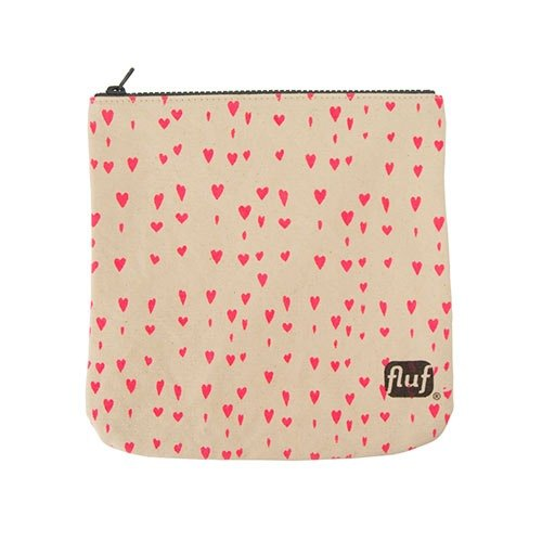 Canada fluf organic cotton zipper bag - full of heart