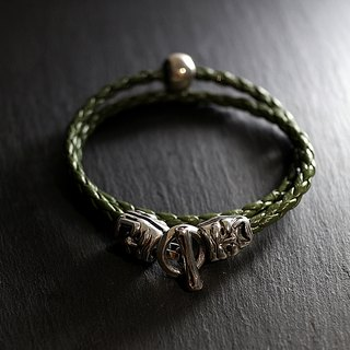 Pure silver crying smiley suede rope bracelet (black green)
