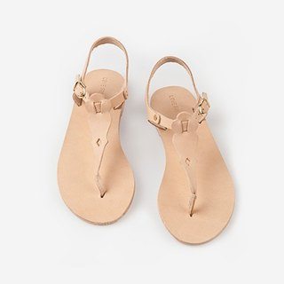 {Love from Cyprus showpiece clearing} nude color flip type leather handmade sandals EU37 (there are real diagram)