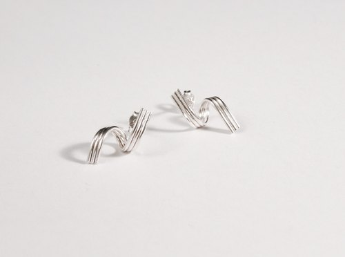 Simple lines series ⎮ ⎮rattan II earrings sterling silver earrings