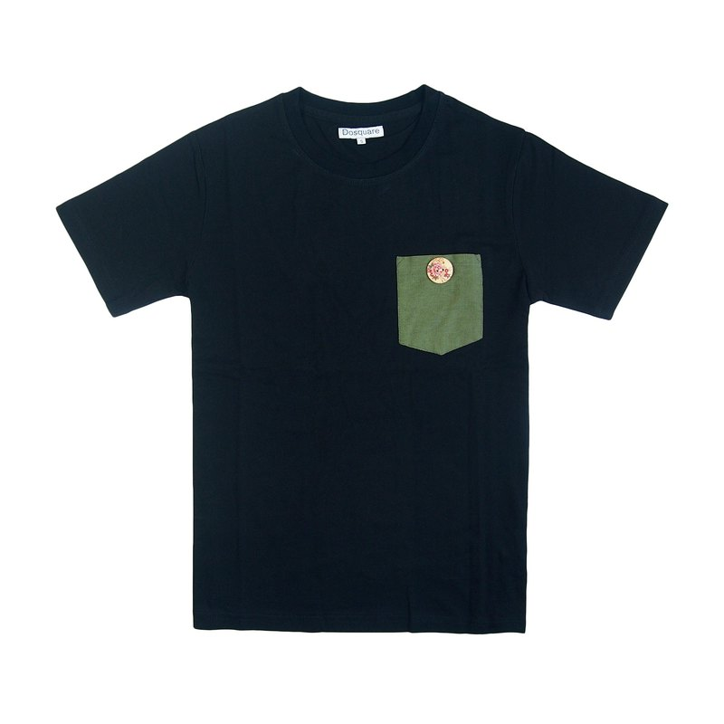 Dosquare - Cotton Black T-shirt with foliage green pocket