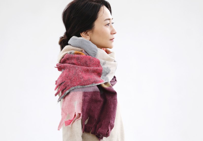 Felt stall autumn color dark color 【AKARI】 ruinuno Ruinuno scarf wool