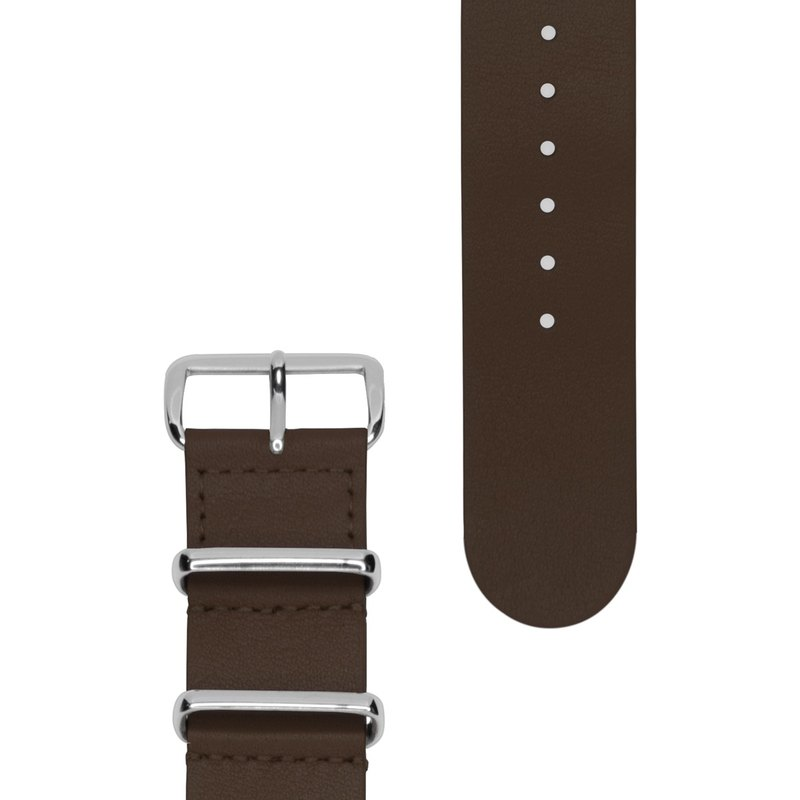 HYPERGRAND Military Leather Strap - 22mm - OAK BROWN Oak Brown Leather (Silver Buckle)