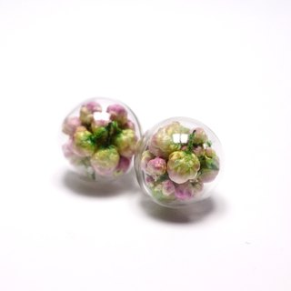 A Handmade romantic sense of the gradient pink white rice flower glass ball earrings