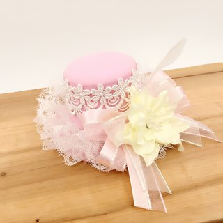 Pink lace hat shape. Hairpin