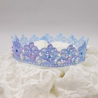<MamaBabyGirls mother's boy girls> Gradient purple and blue lace Rhinestones Crown