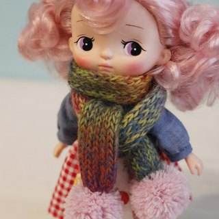 Hand-woven Japanese Merlot Wool Scarf with Scarf (Pink Hairball)