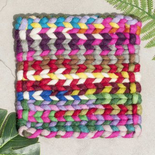 Birthday Gift Ethnic Wind Forest Felt Rainbow Placemat Potholder - Gradient Stripe Weaving