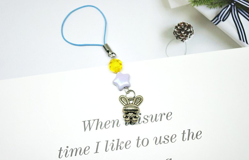 <Lovely Little Charm Series> - Closed Eye Rabbit - #小小礼物# - Can be changed to earphone plug -