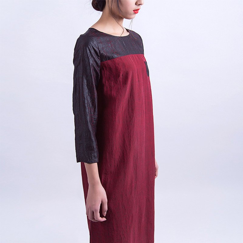 Silk silk long-sleeved dress