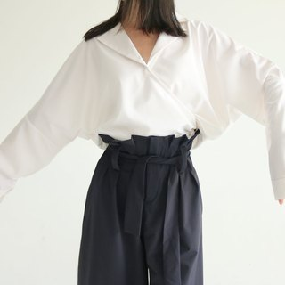 Mujitsu Blouse white and wind V-neck wide sleeve shirt (suit material)