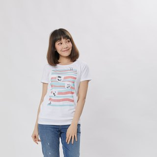 Swimming Pool peach cotton T-shirt Women