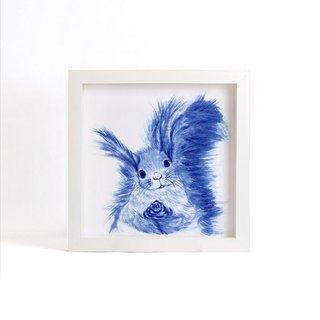 """Visit"" blue copy painting series - Squirrel (excluding frame)"