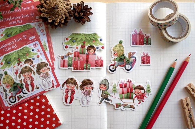 歡樂聖誕 水彩插畫貼紙組 - 貼紙包 手帳貼紙 可愛貼紙 防水貼紙