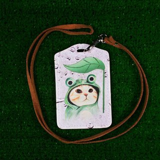 Three cat shop ~ wearing a frog cap cat ticket holder