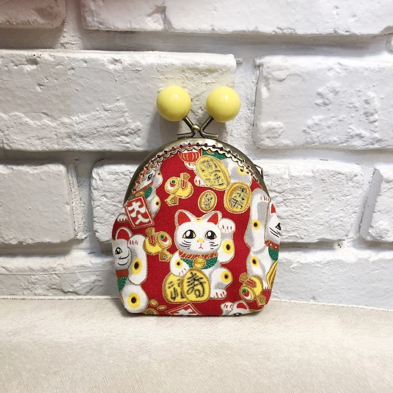Small rainbow candy mouth gold purse - lucky red