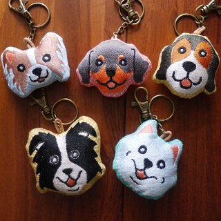Happy big dog embroidery cotton key ring pendant embroidered in English name please note