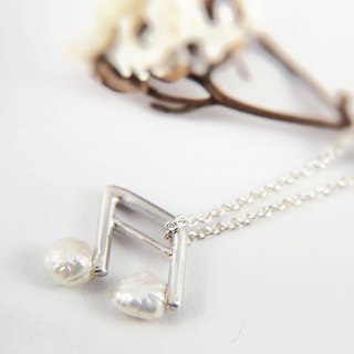 Music Department - Silver Sixteenth Note - Sterling Silver Pearl Necklace
