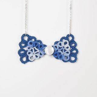 《Made To Order》『Double Bow』Blue Blue Tatting Necklace